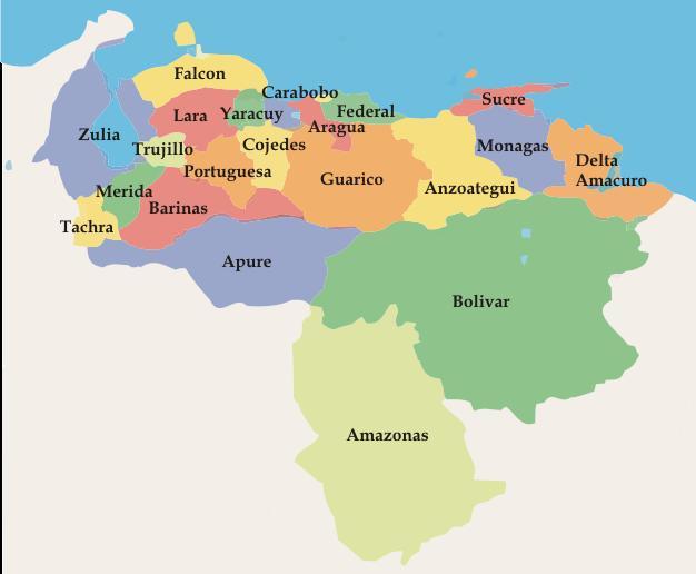 Imagen del mapa de venezuela a color - Imagui